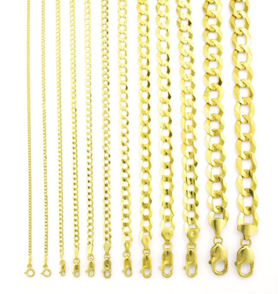 14K Yellow Gold Solid 1.5mm 12mm Cuban Curb Chain Link Pendant Necklace 16quot; 30quot;