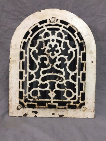 Antique Cast Iron Arch Top Heat Grate Wall Register Decorative Vtg 9x12 39-17B