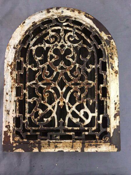 Antique Cast Iron Arch Top Heat Grate Wall Register Decorative Vtg 9X12 40-17B