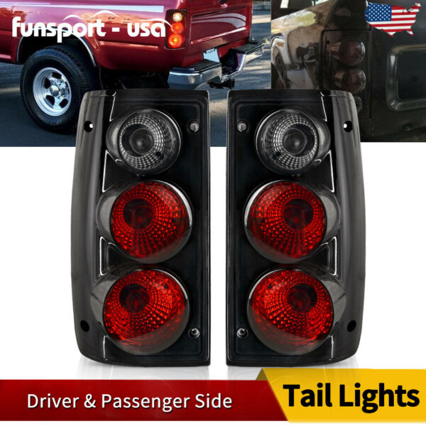 for 1989-1995 Toyota Pickup Truck Tail Lights Black Smoke Rear Lamps Left+Right