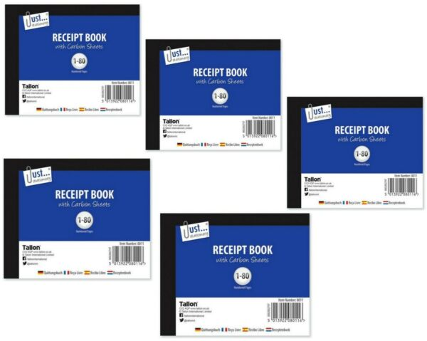 5 xHalf Size Duplicate Receipt Book With Carbon Sheets Numbered 1 80 Pages GBP 8.49