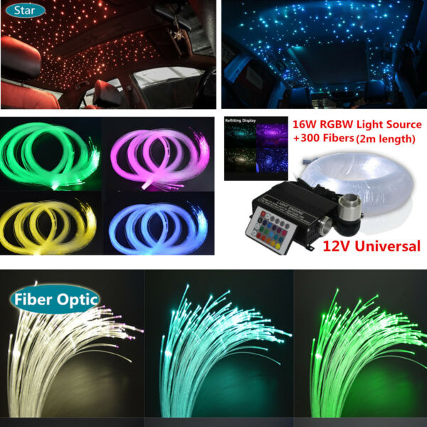 17 Color Static 300Pcs 16W RGBW  LED SUV Car Ceiling Light + Key Remote contro