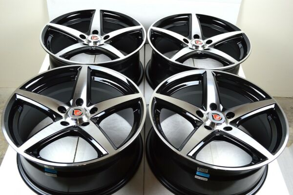 4 New DDR ST1 17x7.5 5x114.3 38mm Black/Machined Face 17