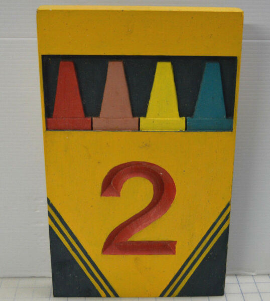 Vintage Rare Crayon carved routed wood sign - Mile Marker Number 2 Crayola Box