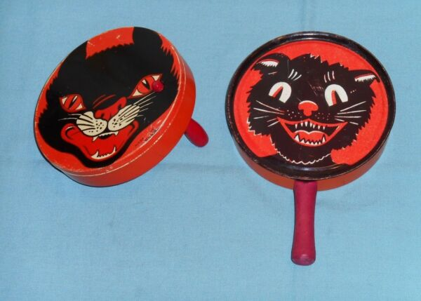 vintage Halloween tin NOISEMAKER LOT x2 different round cat face (one Kirchhof)