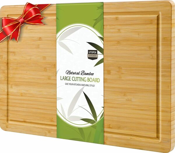 Extra Large Bamboo Cutting Board 17 x 12 Inches Utopia Kitchen