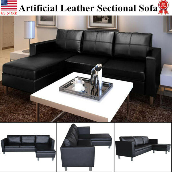 Modern Leather Sectional Sofa 3 Seater L Shaped Living Room Furniture Couch
