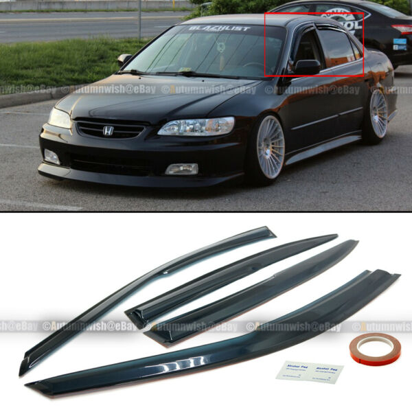 Fit 98-02 Accord 4DR Sedan Mugen Style 3D Wavy Tinted Window Visor Vent $25.99