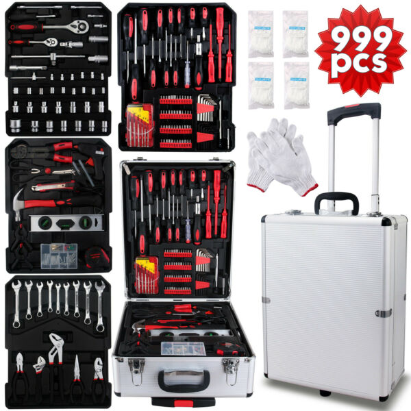 599 pcs Tool Set Standard Metric Mechanics Kit with Trolley Case Box
