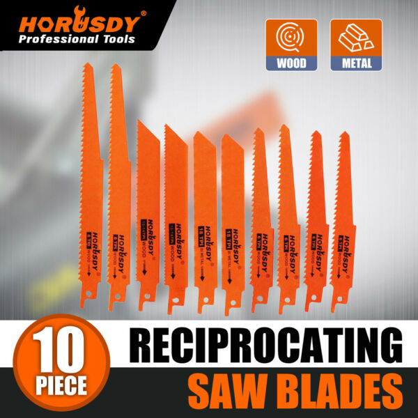 10PC Reciprocating Saw Blades Set Electric Metal Wood Pruning Plastic 1 2quot; $9.99