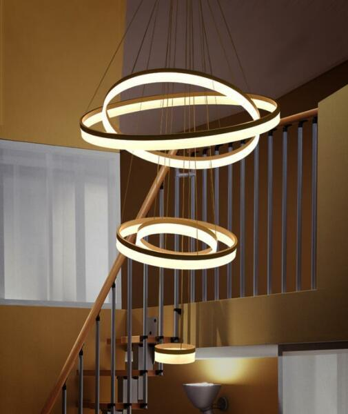 Customized rings Modern LED living room hotel dining room chandelier stair light