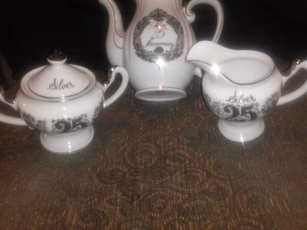 25TH ANNIVERSARY NAPCOWARE COFFEE POT AND NORCREST SUGAR  CREAMER SET