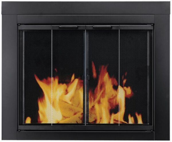 Fireplace Doors Large Glass Bi Fold Surface Mount Design with Easy Grip Handles