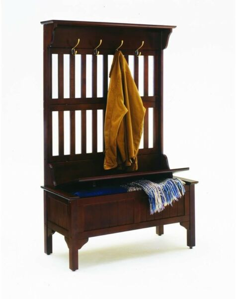 Entryway Hall Trees Coat Storage Cherry Finish Solid Wood Home Furniture New