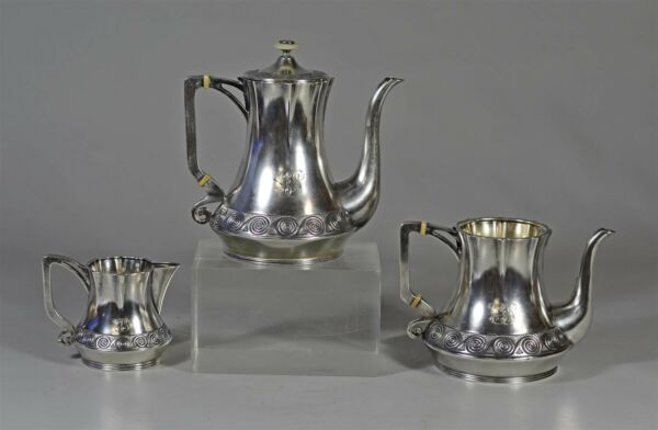 Genuine Vintage Antique Russian Imperial Silver 84 3-Piece Tea Set Hallmarked HT