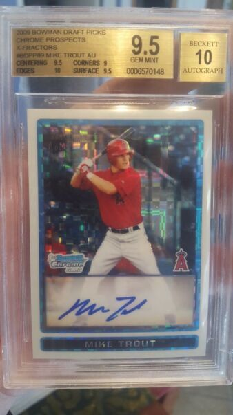 ~THE NEXT MANTLE BOWMAN CHROME DRAFT XFRACTOR BGS 9.5 10 AUTO MIKE TROUT 2009