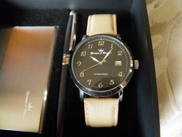 Box Gift Watch Automatic + Charm Map + Pen Yonger & Bresson New $440.11