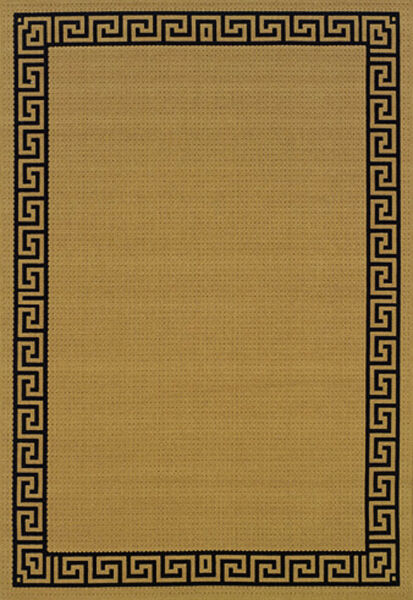 Beige Traditional European Machine Made Patio Deck Area Rug Bordered 782Y1