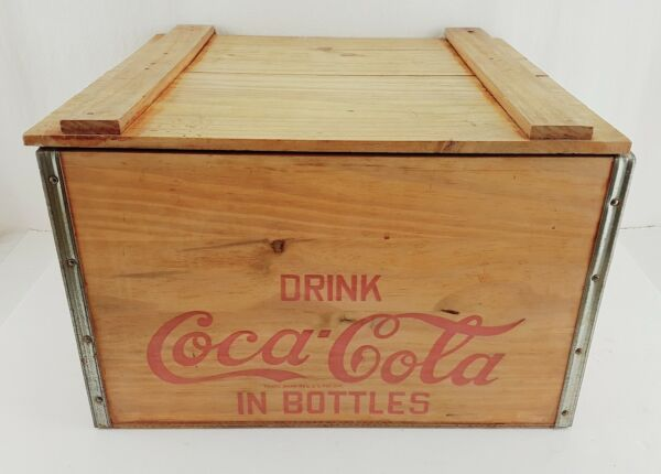 Vintage Drink Coca Cola In Bottles Hinged Wooden Crate Box Carrier