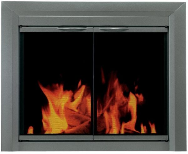 Fireplace Doors Small Tinted Glass Surface Mount Design with Easy Grip Handles