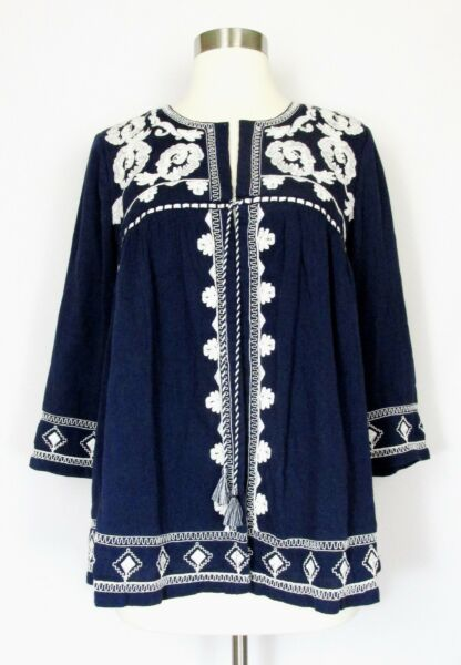 LUCKY BRAND Top Cardigan Blue White Embroidery Open Front Tassel Boho SMALL