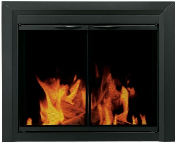 Fireplace Doors Small Tinted Glass Cabinet Style Surface Mount Design in Black
