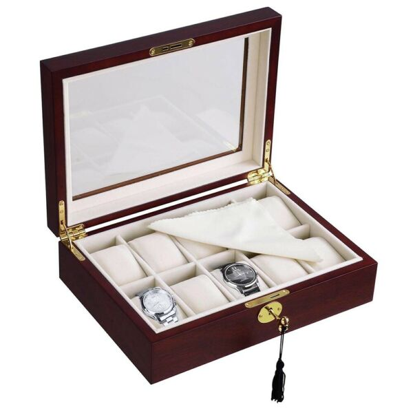 10 Cherry Wood Glass Top Watch Display Jewelry Box Father#x27;s Day Gift Collection $42.90
