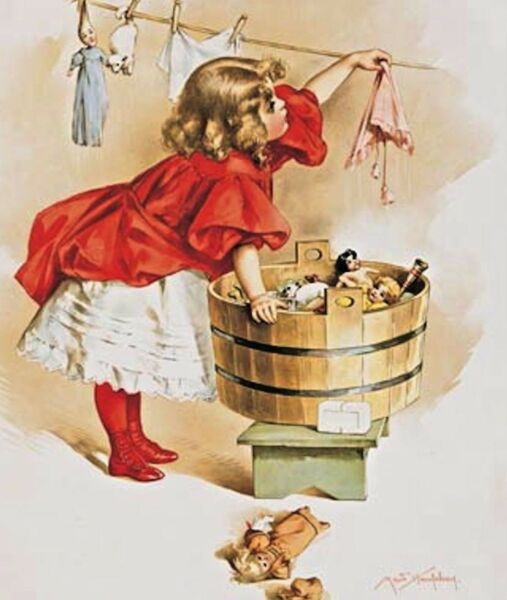 GIRL Vintage Metal Sign Doing Laundry Dolls Clothes Bath Room Wall Decor Gift