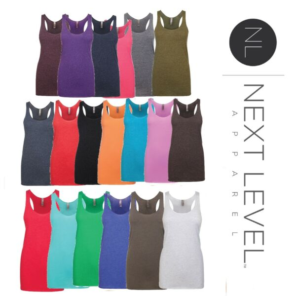 NEW SPORT LUGHT Next Level Tank Top 6733 Solid Women's Tri-Blend Racerback 6733