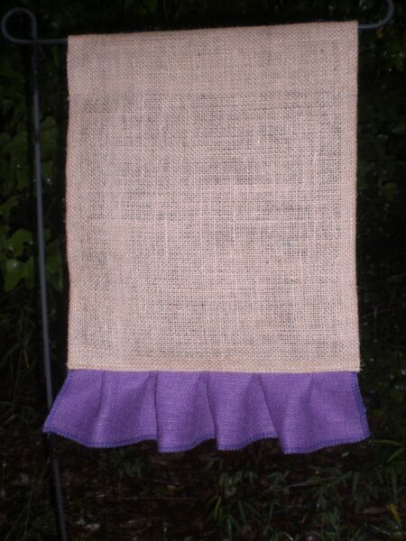 WHOLESALE Burlap Flags Blank 1 DOZEN w Colored Burlap Ruffles FREE SHIPPING