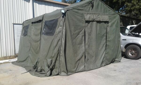 U.S.Military Tent OD Green HDT Base X Shelter System Model 203 14x15 210sq ft