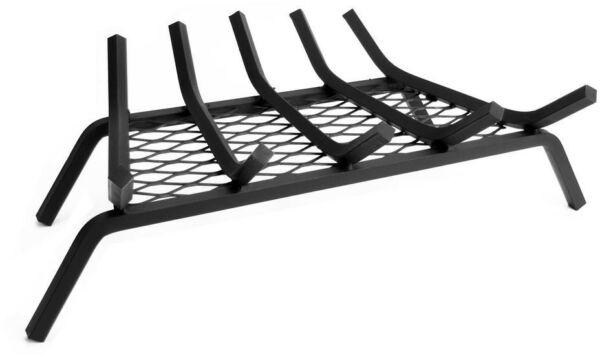 Fireplace Grate 12 in. 21 in. 5-Bar Steel Black Finish with Ember Retainer
