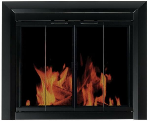 Fireplace Doors Large Tinted Glass Bi Fold Style Surface Mount in Black Finish