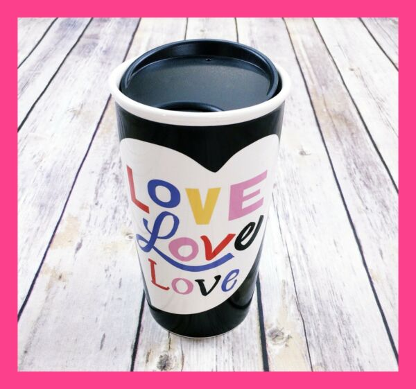 STARBUCKS Travel Mug Valentines Day Ceramic Tumbler Coffee Cup LOVE Black 12 oz