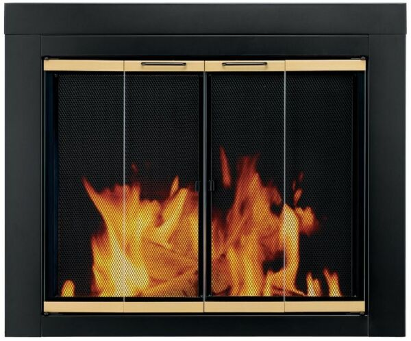 Fireplace Doors Medium Clear Tempered Glass Surface Mount with Easy Grip Handles
