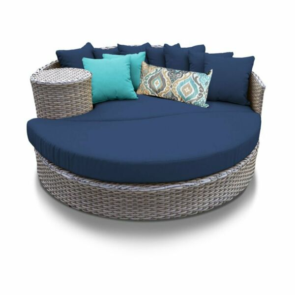 TKC Oasis Round Patio Wicker Daybed in Navy $1260.25
