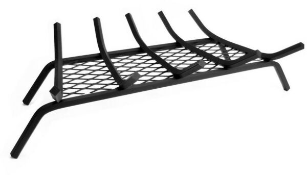 Fireplace Grate 12 in. 27 in. 5-Bar Steel Black Finish with Ember Retainer
