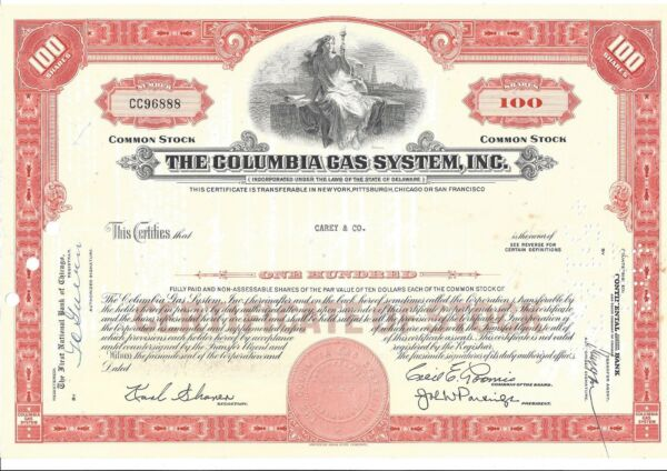 THE COLUMBIA GAS SYSTEM INC.....COMMON STOCK CERTIFICATE $8.75