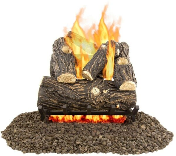 Pleasant Hearth Vented Gas Log Set Heating Willow Oak 18 in Modern Decorative