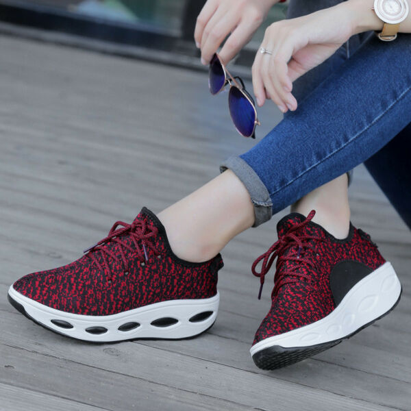 Women's Platform Shoes Sports Lace UP Walking Sneakers Shape Ups Toning Fitness