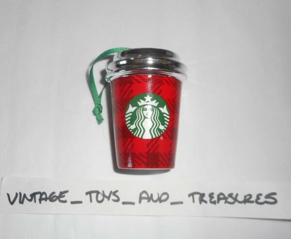 STARBUCKS COFFEE CERAMIC 2016 CHRISTMAS TREE ORNAMENT RED SILVER LID CUP MUG   H