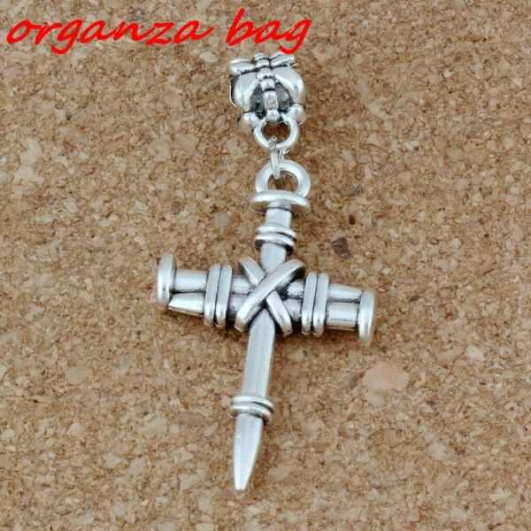 20pcAntiqued Silver Nail Cross Dangles Bead Fit European Charm Bracelet Jewelry