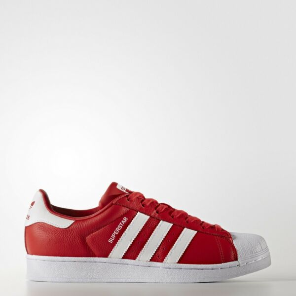 NEW* MEN'S ADIDAS SUPERSTAR FOUNDATION SHOES RED WHITE RED SHELL TOE BB2240