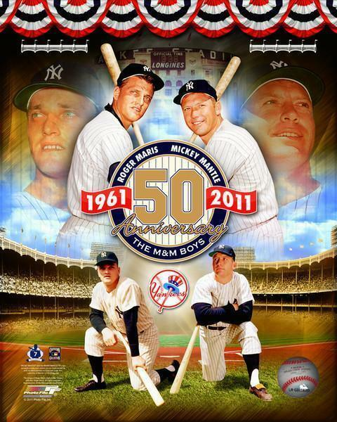 MICKEY MANTLE & ROGER MARIS ~ 8x10 Color Photo Picture ~ M&M Boys 50th Year