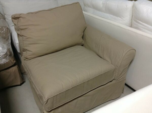 Pottery Barn PB COMFORT roll RIGHT arm Sofa Chair BOX  POLY Walnut Canvas cover