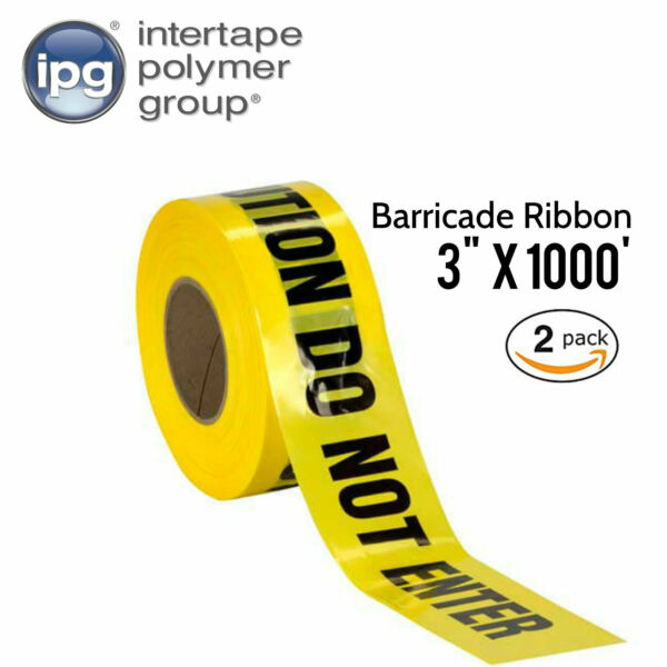 CAUTION DO NOT ENTER Barricade Ribbon Tape, Bright Yellow, 3