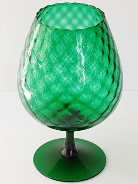 CUT VASE GREEN GLASS GLASSWARE ITALIAN 1960 1970 VINTAGE YEARS 60 70