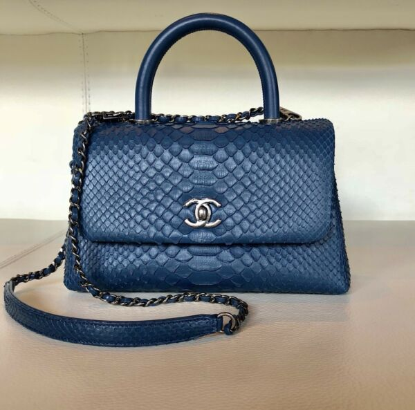 CHANEL Coco Mini Handle Blue Python Handbag