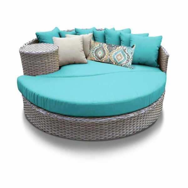 Bowery Hill Round Patio Wicker Daybed in Turquoise $1388.63