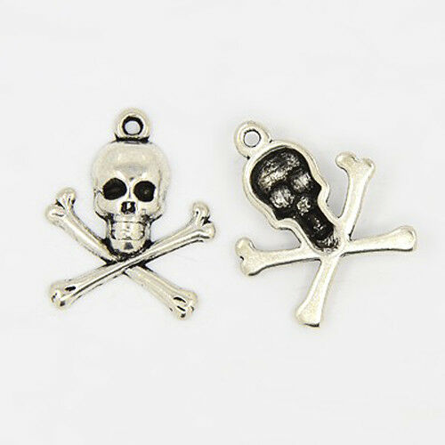 4 Skull and Crossbones Charms Antiqued Silver Pirate Pendants Gothic $2.50